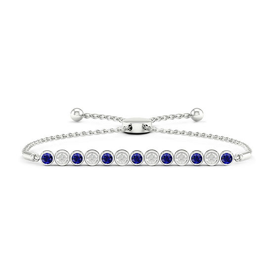 Diamond Accent Genuine Blue Sapphire Sterling Silver Bolo Bracelet