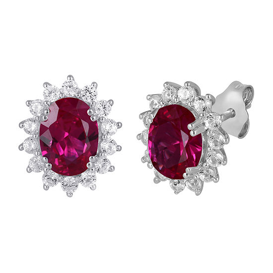 Lab Created Red Ruby Sterling Silver 12.4mm Stud Earrings