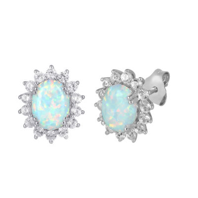 Lab Created White Opal Sterling Silver 12.4mm Stud Earrings