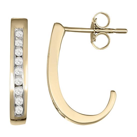 1/4 CT. T.W. Genuine White Diamond 10K Gold 18.1mm Hoop Earrings