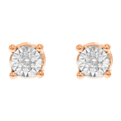 Tru Miracle Twist 1/6 CT. T.W. White Diamond 10K Rose Gold 4.7mm Round Stud Earrings