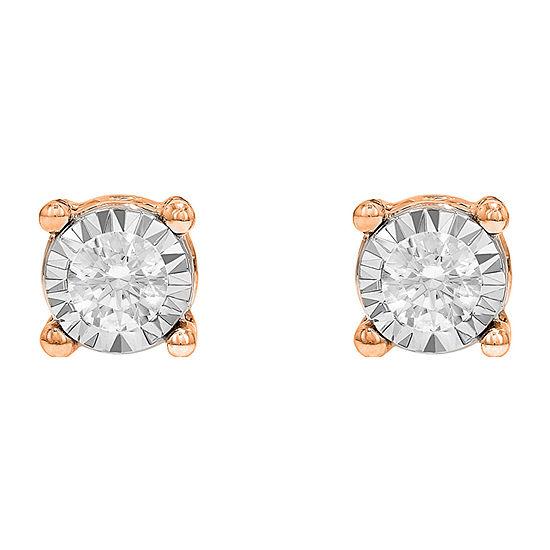 Tru Miracle Twist 1/2 CT. T.W. White Diamond 10K Rose Gold 5.8mm Round Stud Earrings
