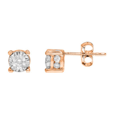 Tru Miracle Twist 1/2 CT. T.W. White Diamond 10K Rose Gold 5.8mm Round Stud Earrings