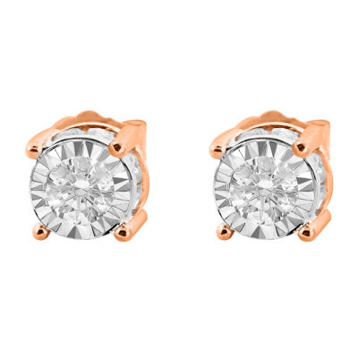 Tru Miracle Twist 1 CT. T.W. White Diamond 14K Rose Gold 6.2mm Round Stud Earrings