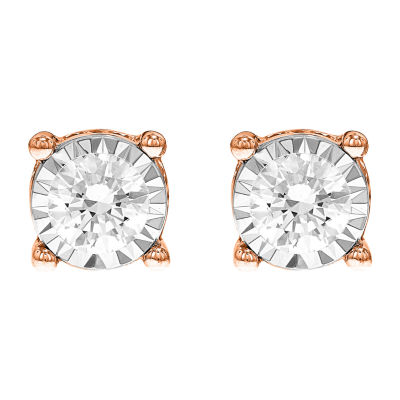 Tru Miracle Twist 1 1/2 CT. T.W. White Diamond 14K Rose Gold 7.8mm Round Stud Earrings