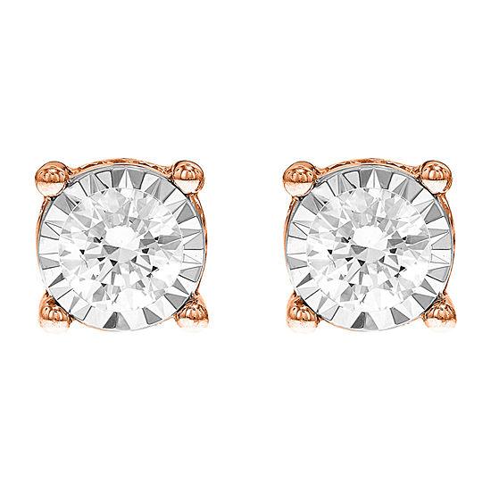 Tru Miracle Twist 1 1/2 CT. T.W. White Diamond 14K Rose Gold 7.8mm Round Stud Earrings