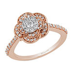 Enchanted Disney Fine Jewelry Womens 1/2 CT. T.W. Genuine Diamond 10K Rose Gold Round 'Beauty and the Beast' Promise Ring