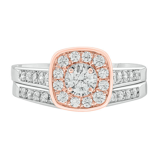 Womens 3/4 CT. T.W. Genuine White Diamond 10K Two Tone Gold Bridal Set