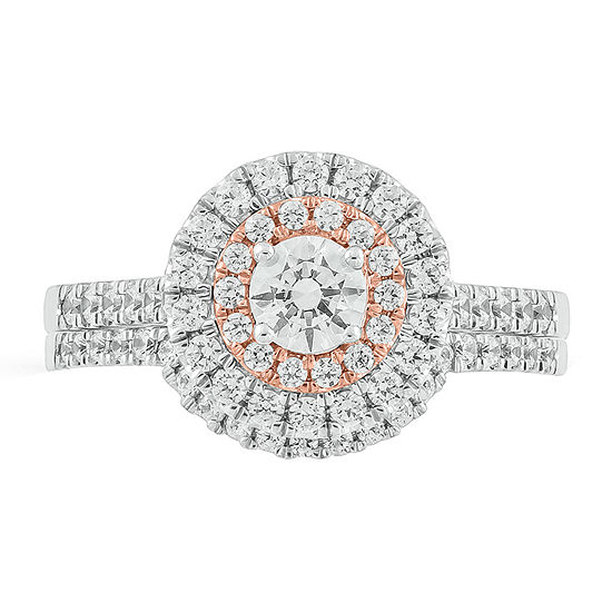 Womens 1 CT. T.W. Genuine White Diamond 14K Two Tone Gold Bridal Set