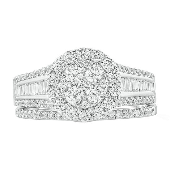 Womens 1 1/4 CT. T.W. Genuine White Diamond 10K White Gold Bridal Set