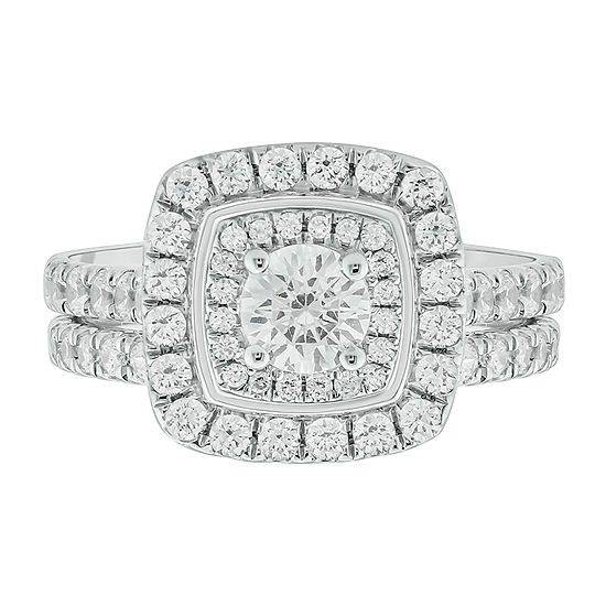 Womens 1 1/2 CT. T.W. Genuine White Diamond 10K White Gold Bridal Set