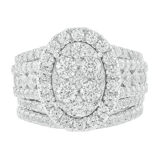 Womens 4 1/4 CT. T.W. Genuine White Diamond 10K White Gold Bridal Set