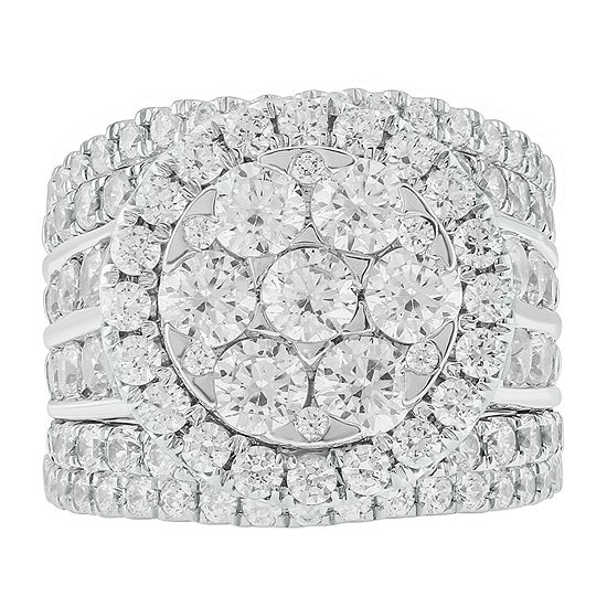 Womens 5 CT. T.W. Genuine White Diamond 10K White Gold Bridal Set