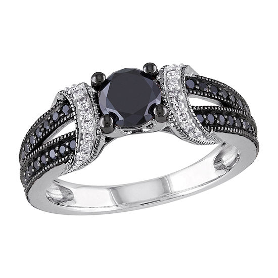 Womens 1 CT. T.W. Genuine Black Diamond Sterling Silver Engagement Ring
