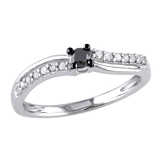 Womens 1/4 CT. T.W. Genuine Black Diamond Sterling Silver Engagement Ring