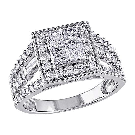 Womens 1 1/2 CT. T.W. Genuine White Diamond 14K White Gold Halo Engagement Ring