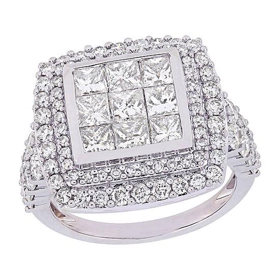 Womens Genuine White Diamond 14K White Gold Halo Engagement Ring
