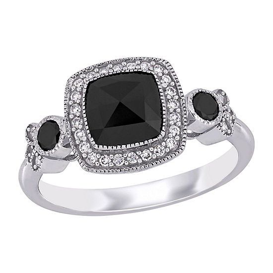 Womens 1 1/3 CT. T.W. Genuine Black Diamond 14K White Gold Halo Engagement Ring