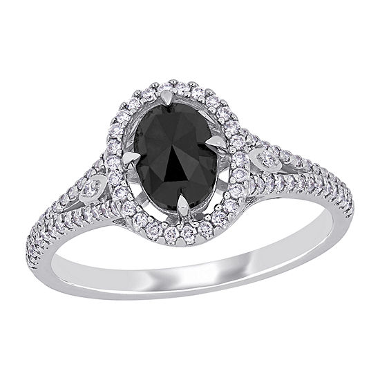 Womens 1 1/4 CT. T.W. Genuine Black Diamond 14K White Gold Halo Engagement Ring