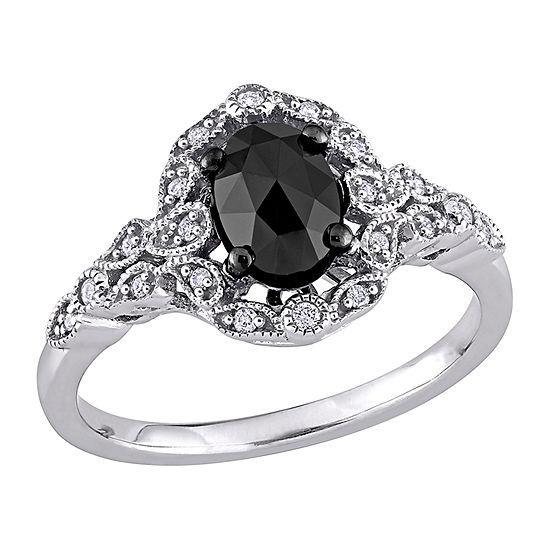 Womens 1 CT. T.W. Genuine Black Diamond 14K White Gold Halo Engagement Ring