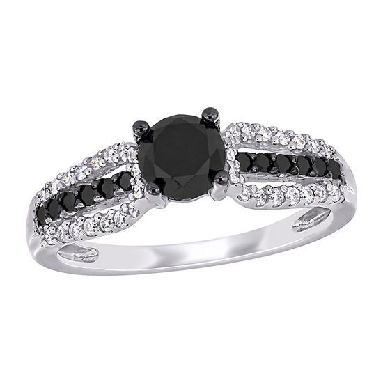 Womens 1 1/10 CT. T.W.  Genuine Black Diamond 14K White Gold Engagement Ring