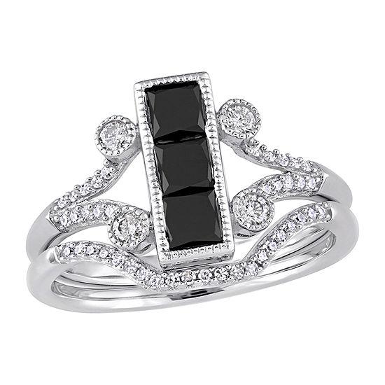 Womens 1 CT. T.W. Genuine Black Diamond 10K White Gold Bridal Set
