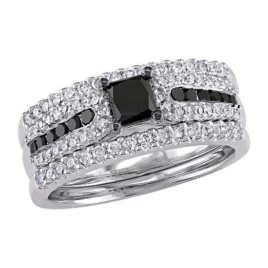 Womens 1 1/6 CT. T.W.  Genuine Black Diamond Sterling Silver Bridal Set