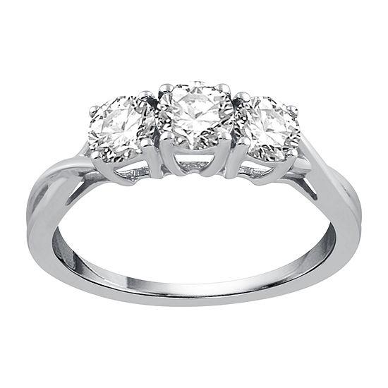 1 CT. T.W. Round White Diamond 10K White Gold 3-Stone Ring