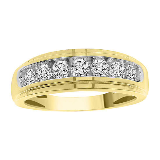 Mens 3/4 CT. T.W. Genuine White Diamond 10K Gold Wedding Fashion Ring