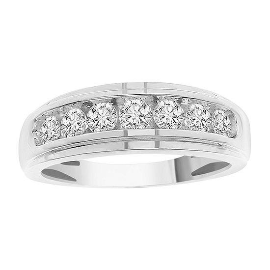 Mens 3/4 CT. T.W. Genuine White Diamond 10K White Gold Wedding Fashion Ring