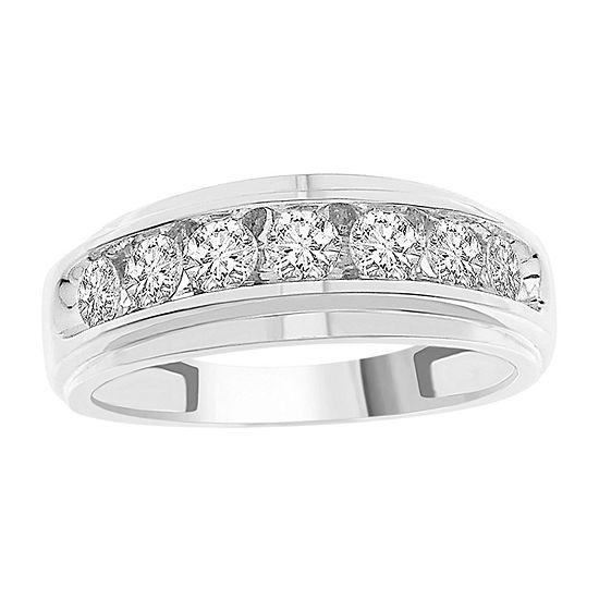 Mens 1 CT. T.W. Genuine White Diamond 10K White Gold Wedding Fashion Ring