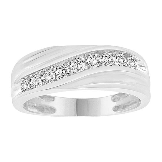 Mens 1/2 CT. T.W. Genuine White Diamond 10K White Gold Wedding Fashion Ring