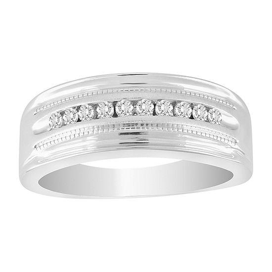Mens 1/2 CT. T.W. Genuine White Diamond 10K White Gold Wedding Fashion Ring