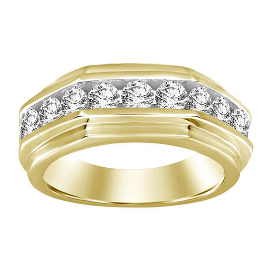 Mens 1 1/2 CT. T.W. Genuine White Diamond 10K Gold Wedding Fashion Ring