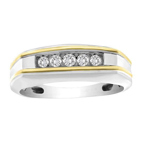 Mens 1/4 CT. T.W. Genuine White Diamond 10K Two Tone Gold Wedding Fashion Ring