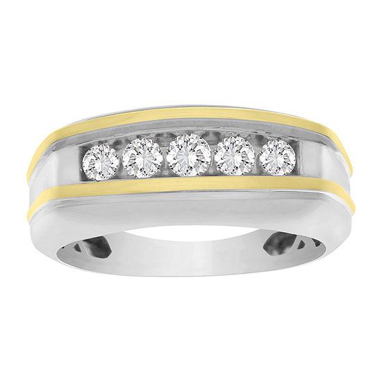 Mens 1/2 CT. T.W. Genuine White Diamond 10K Two Tone Gold Wedding Fashion Ring