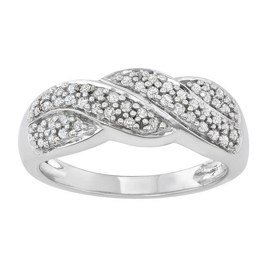 Womens 1/4 CT. T.W. Genuine White Diamond 10K White Gold Infinity Band