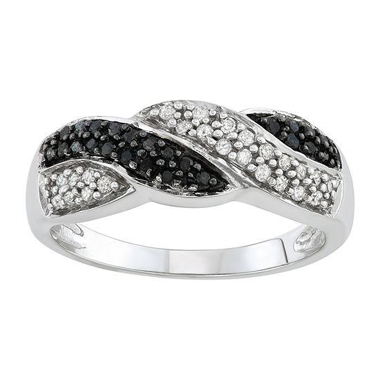 1/4 CT. T.W. Genuine Multi Color Diamond 10K White Gold Infinity Band