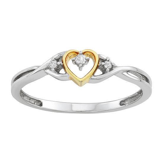 Womens Diamond Accent Genuine White Diamond 10K White Gold Heart Promise Ring