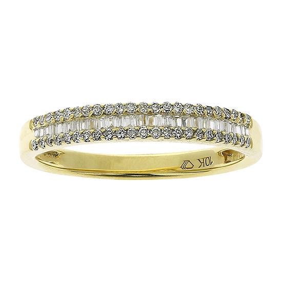 Womens 4MM 1/4 CT. T.W. Genuine White Diamond 10K Gold Wedding Band