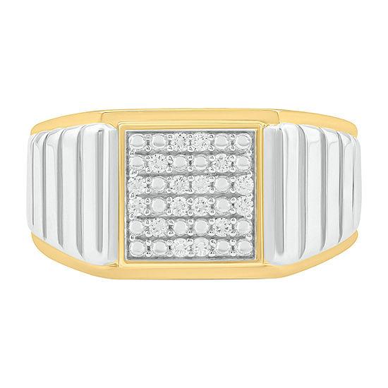 Mens 1/6 CT. T.W. Genuine White Diamond Sterling Silver Fashion Ring