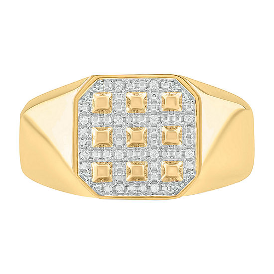 Mens Diamond Accent Genuine White Diamond Sterling Silver Fashion Ring