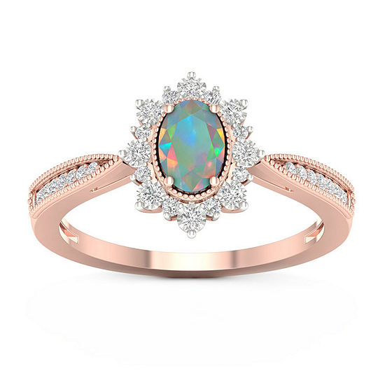 Womens 1/10 CT. T.W. Genuine Multi Color Opal 10K Gold Cocktail Ring