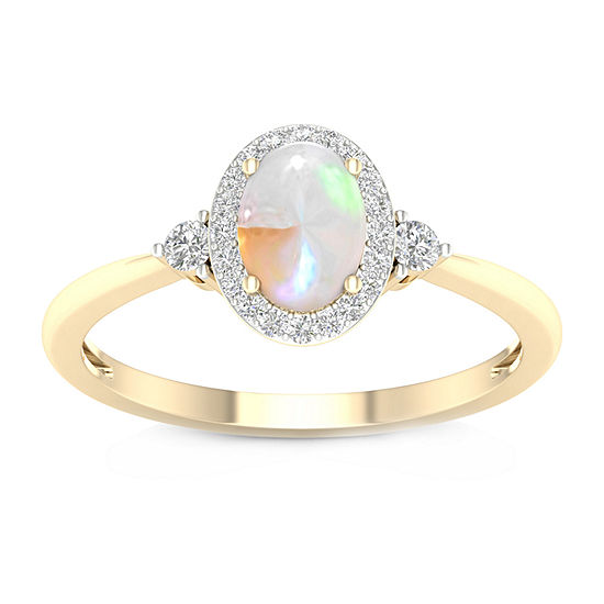Womens 1/6 CT. T.W. Genuine Multi Color Opal 10K Gold Cocktail Ring