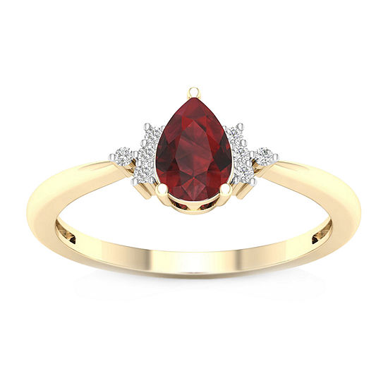 Womens Diamond Accent Genuine Red Garnet 10K Gold Cocktail Ring