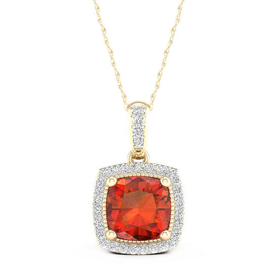 Womens Diamond Accent Genuine Orange Citrine 10K Gold Pendant Necklace