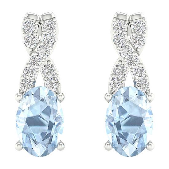 Diamond Accent Genuine Blue Aquamarine 10K Gold 12.6mm Stud Earrings