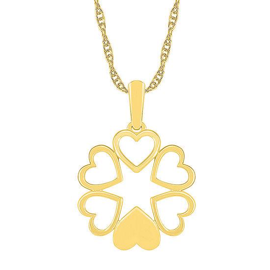 Womens 10K Gold Flower Pendant