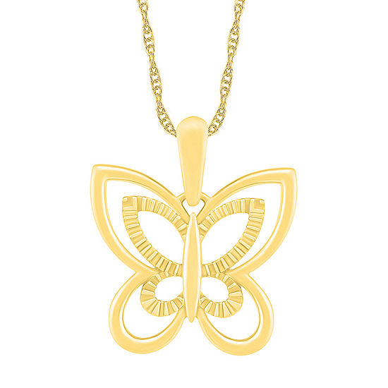 Womens 10K Gold Butterfly Pendant