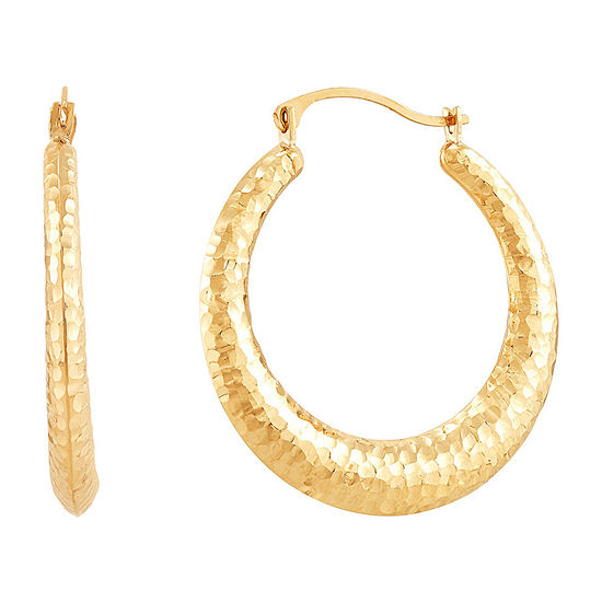 14K Gold 28mm Pear Hoop Earrings